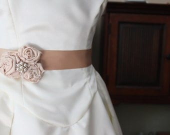 KgDesign brooch or sash pin, chapagne rosette trio with pearl rhinestone accent
