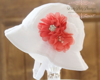 Baby Flower Hat - Baby Easter Bonnet - Sun Hat - (Removeable) Coral and White Flower Clip With White Sun Hat- Fits (Your Pick Size)