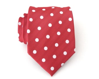 Mens Ties. Necktie Minnie Red and White Dot Mens Tie