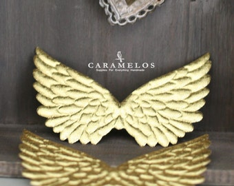 2 Gold Embossed Fabric Angel Wings 4.75""