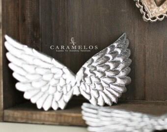 """2 Silver Embossed Fabric Angel Wings 4.75"""""""