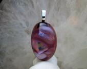 Purple Amethyst Fused Glass Oval Pendant