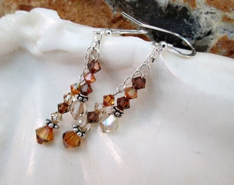 Light and Smokey Topaz Copper Dangling Crystal Earrings