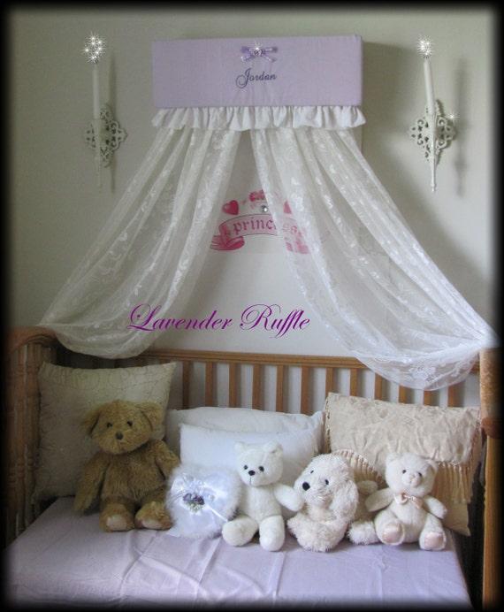 Crib crown bed ruffles nursery canopy cornice lavender for Nursery crown canopy