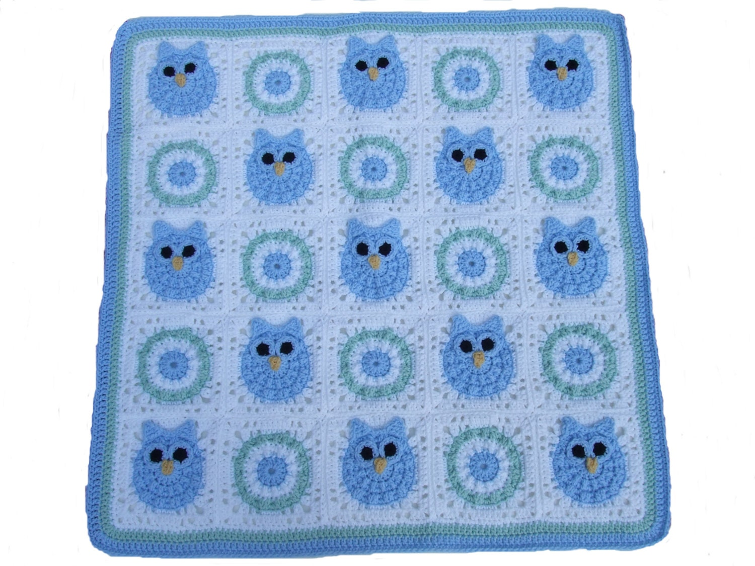 Crochet Pattern Owl Baby Blanket Digital by CrochetVillage on Etsy