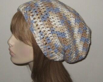 Crochet Slouchy Beanie/Dread Tam Hat in Wool