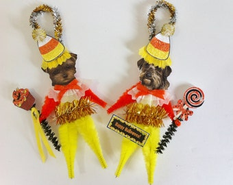 Yorkipoo HALLOWEEN candy corn vintage style CHENILLE ORNAMENTS set of 2