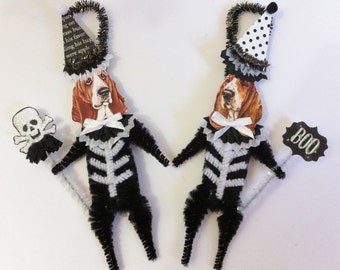 Basset Hound SKELETON Halloween vintage style CHENILLE ORNAMENTS set of 2