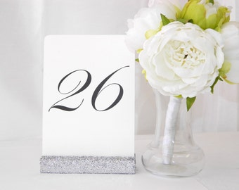 Table Number Holders +Silver Table Card Holder + Silver Glittered Table Number Holder (Set of 10)