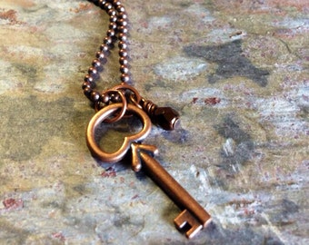 Small Copper Skeleton Key Charm Necklace by Copper Moon Studio