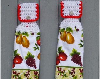 Hanging Kitchen Towels Mixed Fruit Matching Pair
