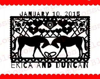 Custom Papel Picado style Save the Date, Wedding rubber stamp - horses or coyotes - Handmade by Blossom Stamps