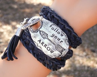 Follow your ARROW Jewelry, Follow Your ARROW Bracelet, Follow Your Arrow Leather Wrap Bracelet, Inspirational Quote Gift for Inspiration