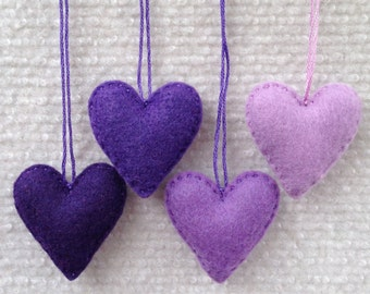 Purple felt heart ornaments set of four