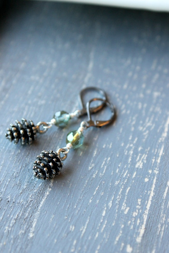 Pine Mist Pinecone Earrings, Pewter Pinecone Charms Woodland Nature Misty Green Pinecone Jewelry Evergreen