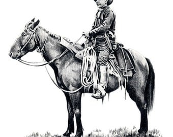 TEXAS RANGER Art Print Pencil Drawing Signed by Artist DJ Rogers