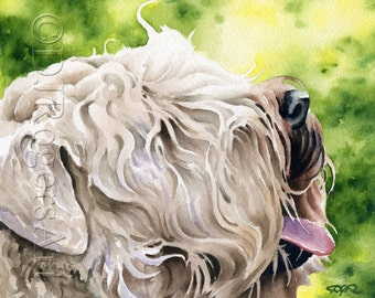 WHEATEN TERRIER Dog Art Print Signed by Artist DJ Rogers