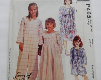 Vintage McCall's Girls Nightgown and Jumpsuit Pattern N P465, Uncut Sizes 12 and 14