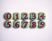 Number Magnet Set - Sparkly Peacock Style - 10 pieces
