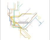 Massimo Vignelli's 1972 New York City Subway Map - (Line Art) - 16x20 Print