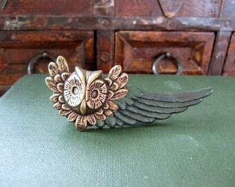 Owl Tie Bar, Tie Clip, Woodland Animal, Forest Green, Emerald, Steampunk, Angel Wing, Men's Accessories, ORIGINAL DESIGNER Days Long Gone
