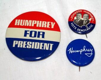 Lot of 3 Hubert Humphrey Political Pins