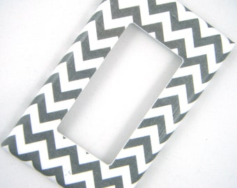 Grey Chevron GFCI Outlet Cover Rocker Light Switch Cover