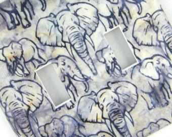 Double Light Switch Cover Switchplate -- Grey Batik-ish Elephant
