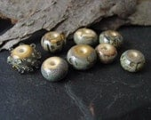 Handmade Lampwork Glass Bead Set. Jewelry Supply. Ivory and Fine Silver. LWS-43