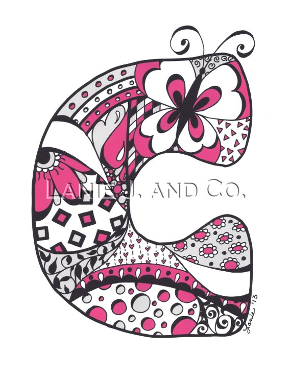 8 x 8 art prints items similar to letter c 8 x 10 art print pink personalized