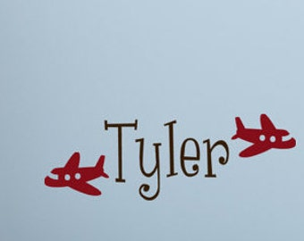 "Baby Boy Wall Decal -   18"" X 8"" Nursery Wall Decal - Plane Wall Decal Name Monogram - Boy Wall Decal - Personalized Kids"
