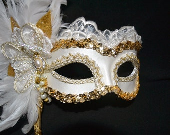 Ivory and Gold Marie Antoinette Mask II
