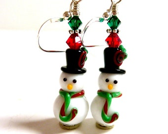 Snowman Earrings, Dangle Drop Earrings, Christmas Earrings, Holiday Earrings, Winter Earrings, Red Green Fun Adorable Christmas Earrings