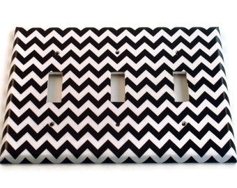 Triple Light Switch Cover Wall Decor Switchplate Switch Plate in  Black Chevron  (150T)