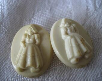 Set of 2 VINTAGE Little Dutch Girl White Plastic BUTTONS