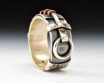 Connection Series - Zany. Sterling Silver and Copper Connections Ring