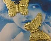 Raw Brass Monarch Butterfly Stampings 331RAW x2