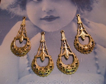 Raw Brass Filigree Earring Dangles 491RAW x2