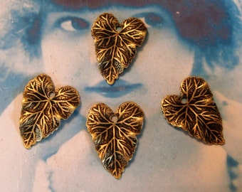 Brass Ox Plated Very Detailed Ivy Leaf Charms 837BOX x4