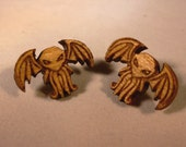 Wooden Cthulhu Stud Earrings