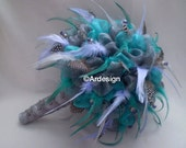 PRETTY PARADISE Feather and Organza Wedding Bouquet