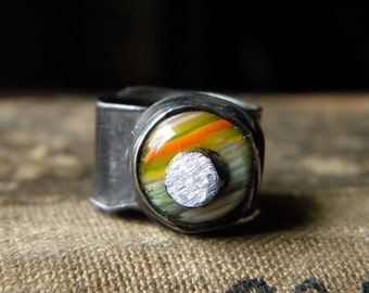 Adjustable Glass Ring,Statement Glass Ring,