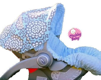 Infant Car Seat Cover, Baby Car Seat Cover, Car Seat Cover in Blue Lotus