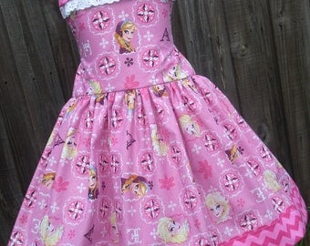 Made to Order Custom Boutique Disney Pink Frozen Anna Elsa Ruffled Dress Girl  2 3 4 5 6 7 8