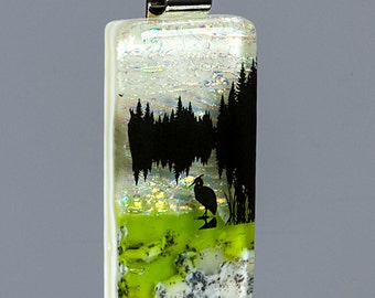 Fused Glass Pendant by BluDragonfly SRA - Reflection
