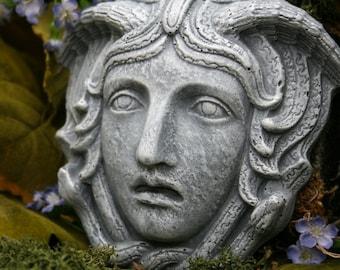 """Medusa Art - 5"""" x 5"""" Concrete Garden Plaque - Outdoor Garden Decor"""