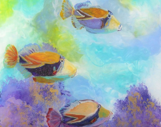 Tropical Hawaiian Fish Art - 8 x 8 Giclee Art Print - Kauai Hawaii - Childrens Wall Art - Kids Tropical Fish Decor - Tropical Reef Fish Art