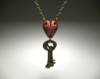 Key to my Heart Necklace - Polymer Clay Jewelry