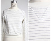 striped sweatshirt | vintage tiny fit heather gray striped top | heather grey cotton top | XXXS