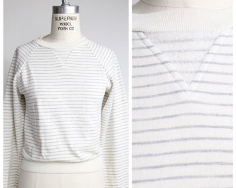 Vintage 80s Sweatshirt | Heather Gray Striped Top | Tiny Fit Sweatshirt | XXXS